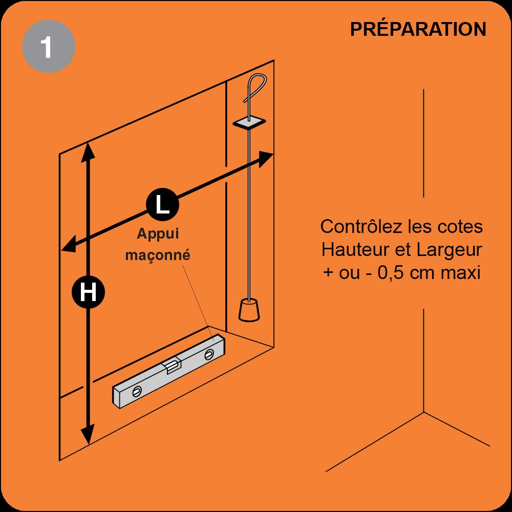 Etape 1 pose en feuillure : Contrôle cotes et aplomb