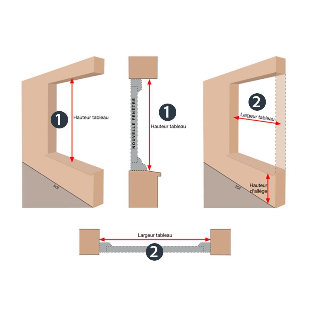 Prise de cotes pose en tunnel d'une fenêtre PVC