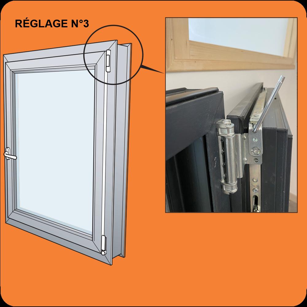 Réglage jeux latéraux et faux équerrage Fenêtre PVC